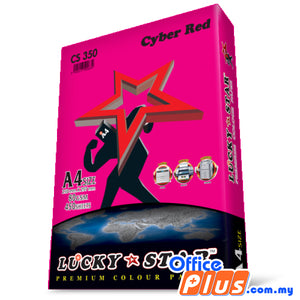 Lucky Star A4 Colour Paper CS350 Cyber Red 80gsm - 450 sheets - OfficePlus.com.my