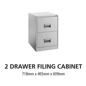 2 Drawer Steel Office Filing Cabinet With Recess Handle C/W Ball Bearing Slide - OfficePlus.com.my