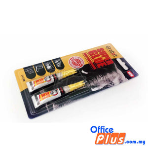 Grabbit Xtraseal Twin Pack Super Glue 3gm - 2 pieces/pack - OfficePlus.com.my