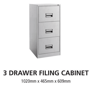 3 Drawer Steel Office Filing Cabinet With Recess Handle C/W Ball Bearing Slide - OfficePlus.com.my