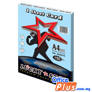 Lucky Star A4 2 Sheet Card CS120 Blue 120gsm - 100 sheets - OfficePlus