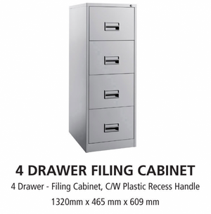 4 Drawer Steel Office Filing Cabinet With Recess Handle C/W Ball Bearing Slide - OfficePlus.com.my