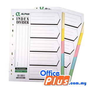 Alpha Index Divider with Hole - 5 colours/ 10 sets - OfficePlus.com.my