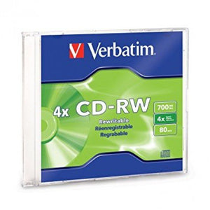 Verbatim CD-RW 4X 80MIN 750MB With Case - OfficePlus