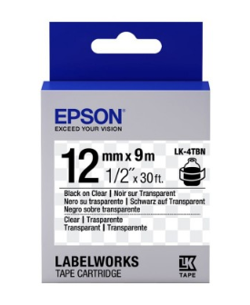 Epson Label Cartridge 12mm Black on Transparent Tape - OfficePlus