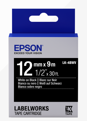 Epson LK-4BWV LabelWorks Vivid Tape -12mm White on Black Tape (Item No: EPS LK-4BWV) - OfficePlus.com.my