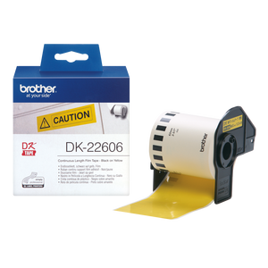 Brother DK22606 Black on Yellow Continuous Length Film - 62mm x 15.24m - OfficePlus