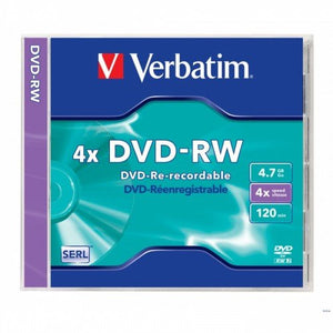 Verbatim DVD-RW 4X 4.7GB 120MIN With Case - OfficePlus