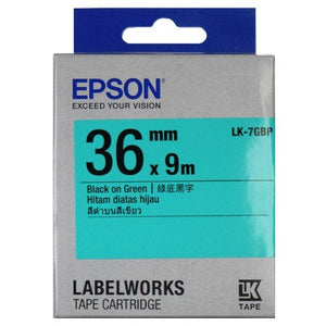 Epson LK-7GBP Label Tape 36mm Black on Green (Pastel) - OfficePlus