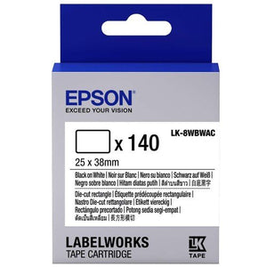 EPSON Label Cartridge Die-Cut (Rectangle) 25mm Black/White (Item No :EPS LK-8WBWAC) - OfficePlus
