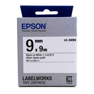 Epson LK-3WBN LabelWorks Tape - 9mm Black on White Tape (Item no: EPS LK-3WBN) - OfficePlus.com.my