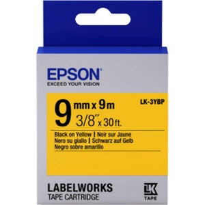 Epson LK-3YBP LabelWorks Tape - 9mm Black on Yellow Tape (Item No: EPS-LK-3YBP) - OfficePlus.com.my