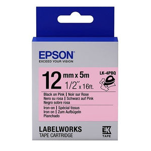 Epson LK-4PBQ 12mm Black on Pink Tape (Iron On) - OfficePlus.com.my