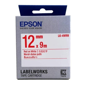 Epson LK-4WRN LabelWorks Tape - 12mm Red on White Tape (Item no: EPS LK-4WRN) - OfficePlus.com.my