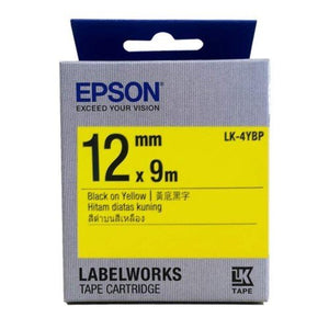 Epson LK-4YBP LabelWorks Tape - 12mm Black on Yellow Tape (Item no: EPS LK-4YBP) - OfficePlus.com.my