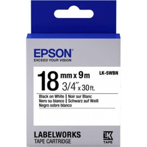 Epson LK-5WBN LabelWorks Tape - 18mm Black on White Tape (Item no: EPS LK-5WBN) - OfficePlus.com.my
