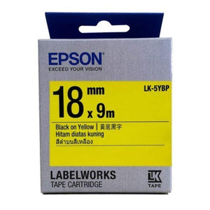 Epson LK-5YBP LabelWorks Tape - 18mm Black on Yellow Tape (Item no: EPS LK-5YBP) - OfficePlus