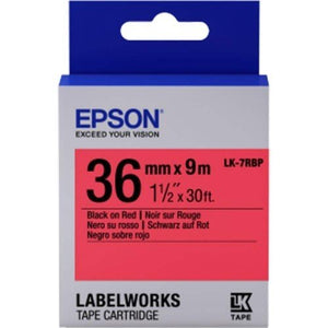 Epson LK-7RBP LabelWorks Tape - 36mm Black on Red Tape (Item no: EPS LK-7RBP) - OfficePlus