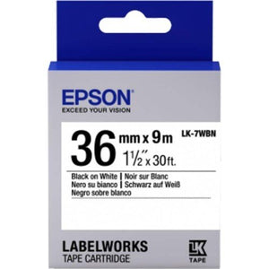 Epson LK-7WB LabelWorks Tape - 36mm Black on White Tape (Item No: EPS LK-7WBN) - OfficePlus.com.my
