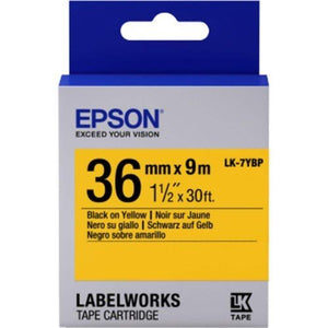 Epson LK-7YBP LabelWorks Tape - 36mm Black on Yellow Tape (Item no: EPS LK-7YBP) - OfficePlus