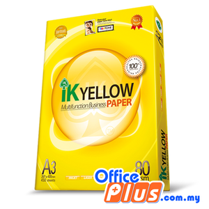 IK Yellow A3 Copier Paper 80gsm - 450 sheets - RM26.00/Ream - 5 reams - OfficePlus.com.my