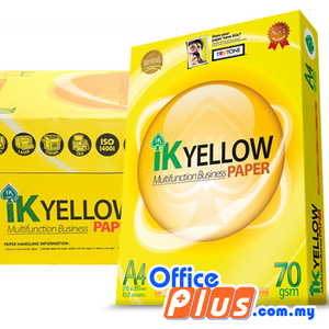 IK Yellow A4 Copier Paper 70gsm – 450 sheets - RM9.60/Ream - 1 ream - OfficePlus.com.my