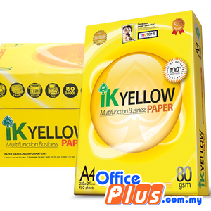 IK Yellow A4 Copier Paper 80gsm - 450 sheets - RM10.80/Ream - 1 ream - OfficePlus.com.my
