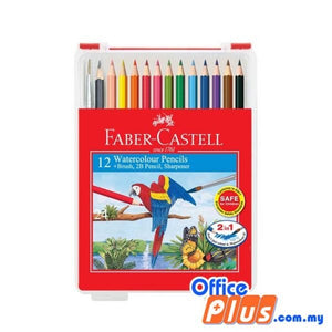Faber-Castell 12-L Watercolour Pencils Wonder Box with Brush, 2B Pencil & Sharpener (114562) - OfficePlus.com.my