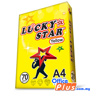 LUCKY STAR A4 Copier Paper Yellow 70gsm - 450 Sheets - RM8.80/Ream - 100 ream - OfficePlus.com.my
