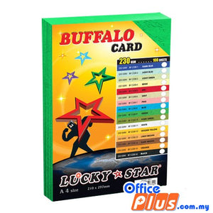 Lucky Star A4 Fancy Card BF C230-9 Green 230gsm - 100 sheets - OfficePlus.com.my