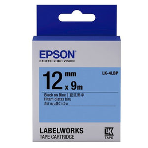 Epson Label Cartridge 12mm Black on Blue Tape (Pastel) - OfficePlus