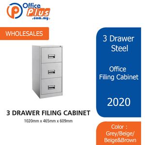 3 Drawer Steel Office Filing Cabinet With Recess Handle C/W Ball Bearing Slide - OfficePlus