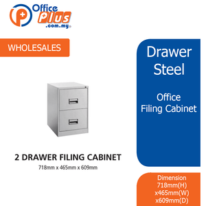 2 Drawer Steel Office Filing Cabinet With Recess Handle C/W Ball Bearing Slide - OfficePlus