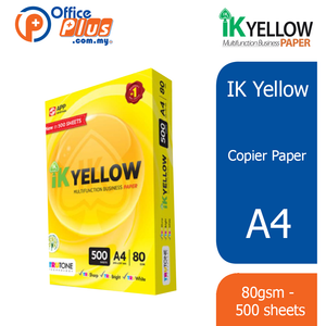IK Yellow A4 Copier Paper 80gsm - 500 sheets (RM 10.50 - RM 12.00/ream) - OfficePlus