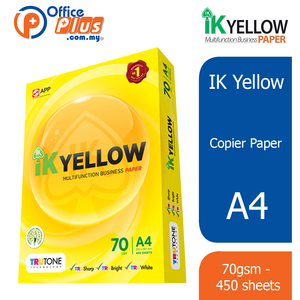 IK Yellow A4 Copier Paper 70gsm - 450 sheets (RM8.00 - RM9.80) - OfficePlus