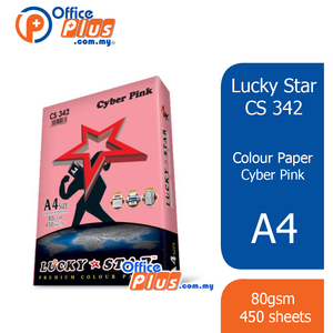 Lucky Star A4 Colour Paper CS342 Cyber Pink 80gsm - 450 sheets - OfficePlus