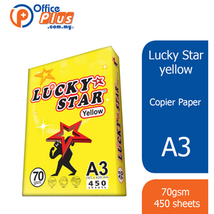 Lucky Star A3 Copier Paper Yellow 70gsm - 450 sheets (RM 21.00 - RM 21.30/ream) - OfficePlus
