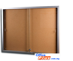 SLIDING GLASS ALUMINIUM CABINET CORK BOARD CG – 34 90 x 120 CM (3′ x 4′) - OfficePlus