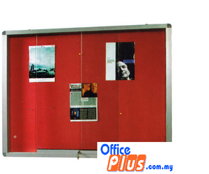 SLIDING GLASS ALUMINIUM CABINET VELVET BOARD VG – 46 120 x 180CM (4′ x 6′) - OfficePlus.com.my