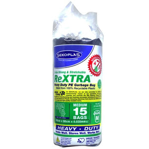 SEKOPLAS ReXTRA HDPE Garbage Bags Medium (15pcs) - OfficePlus.com.my