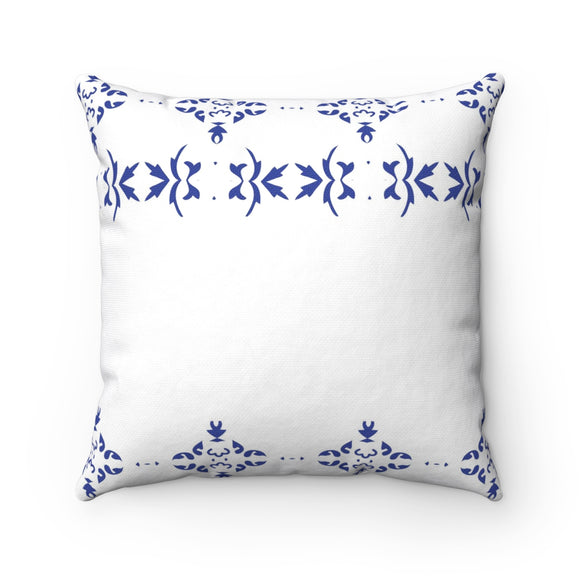 White And Blue Polyester Bedroom Decor Pillow