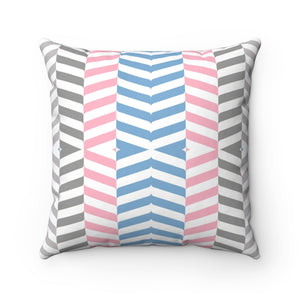 Pink Gray Blue Victorian Lines Pillow