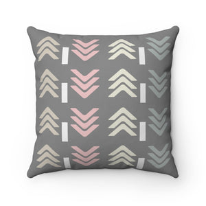 Gray, Pink and Beige Arrows Style Pillow