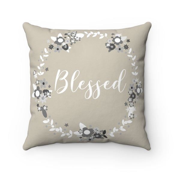 Adira - Beige Throw Pillow Blessed