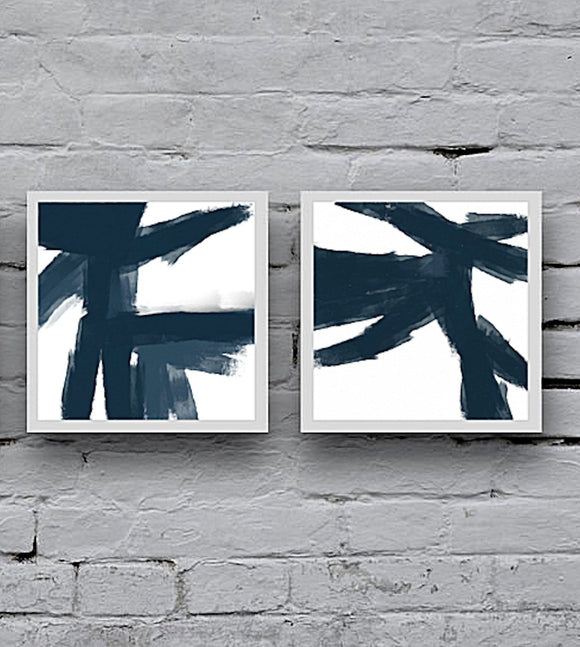 Large Blue Abstract Art - Framed Bedroom Wall Decor, Modern Art Set Of 2 Canvas Prints