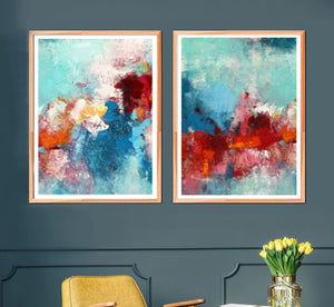 Red Abstract Art Set Of 2 Large Bold And Bright Modern Prints On Canvas