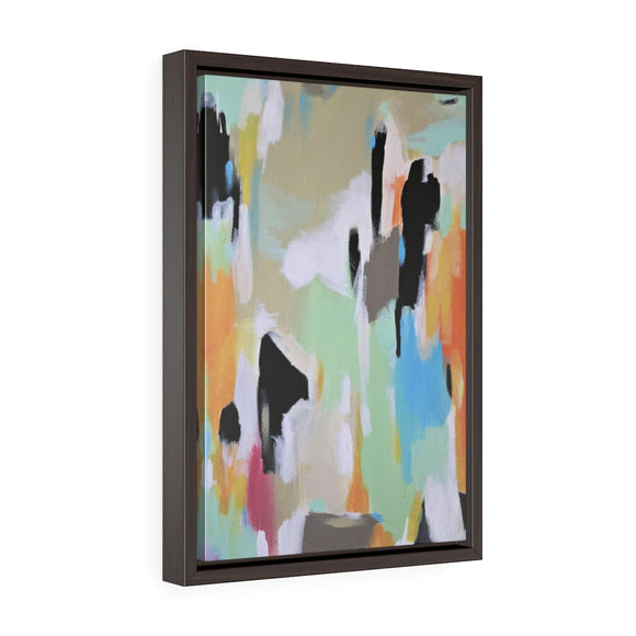 framed canvas art, bold abstract green orange wall decor