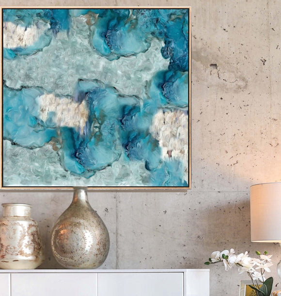 teal abstract wall art, large canvas print, accent decor art boutique