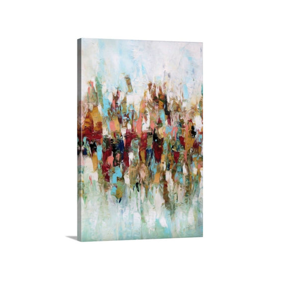 Colorful Print, Large Abstract Flowers Art On Canvas, Framed Wall Art, Vertical 24x36