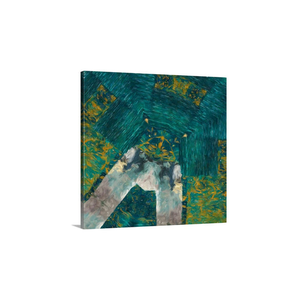 Teal Green Abstract Art, Modern Wall Art Canvas Print, Green Wall Decor